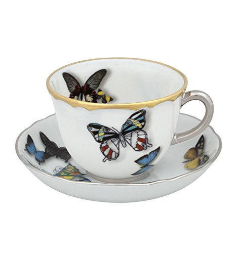 Vista Alegre Butterfly Parade Coffee Cup and Saucer Set of 2 by Christian Lacroix by Vista Alegre