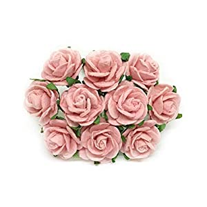2cm Light Pink Blush Pink Paper Flowers Paper Rose Artificial Flowers Fake Flowers Artificial Roses Paper Craft Flowers Paper Rose Flower Mulberry Paper Flowers, 25 Pieces 3