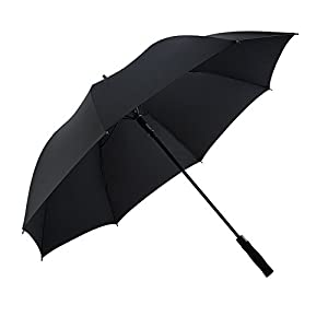 Bodyguard 60 Inch Automatic Open Golf Umbrella - Extra Large Canopy Umbrella 210T Dupont Teflon Coated Super Windproof and Waterproof Umbrella - Black