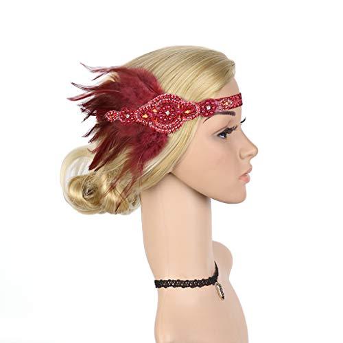 Women Headband,Caopixx Boho Feather Hand Woven Peacock Feather Hair Bands Headband Beach Headwear (A-Wine Red) ()