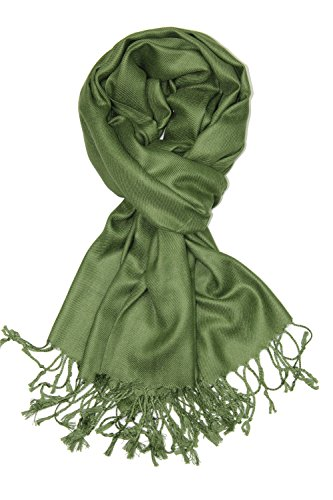 (Achillea Large Soft Silky Pashmina Shawl Wrap Scarf in Solid Colors (Olive Green))