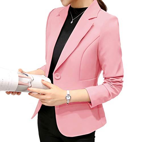 Coat Outwear Smalltile Manteau Casual Fashion Slim Blousons Couleur Unie Revers Longues Haut Tailleurs Vestes Printemps Rose Cardigan Femmes De Manches Jacket Automne Blazer URRrnxdZ