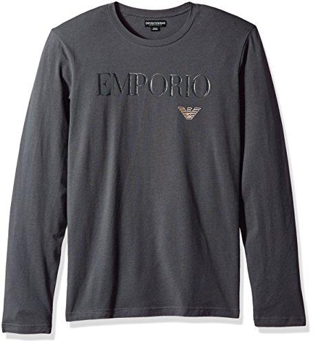 Emporio Armani Men's Megalogo L/s Crew T-Shirt, Dark Gray, M by Emporio Armani