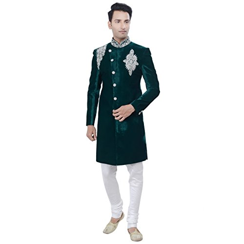 Chudidar Kurta Dress - Rajwada Men's Indian Green Indo Western Sherwani 2pc Suit (Worldwide Post) (S (36))