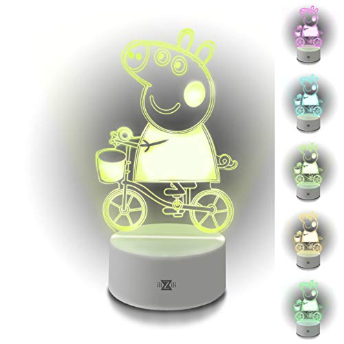 ilizili lamp Peppa Pig on a Bicycle - 3D Night Light Pepa on a Bicycle - Excellent Peppa Pig lamp – Peppa Pig Toy – Peppa Pig Light for Kid - 3D Light Peppa in Our 3D Lamps(White)