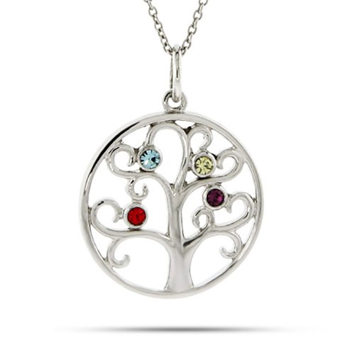 Sterling Silver Custom 4 Stone Simulated Birthstone Family Tree Pendant (16