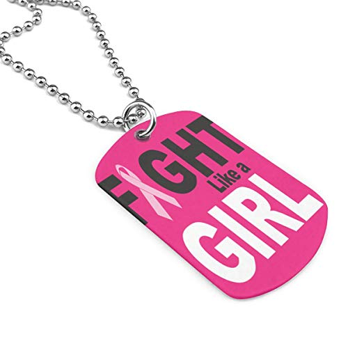 Pink Ribbon Breast Cancer Military Necklace Dog Tag Pendant Jewelry Necklace