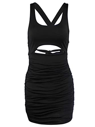 83098b4cc84 Romacci Women Sleeveless Bodycon Dress Ruched Hollow Out Front Backless  Strappy Party Casual Mini Dress Black