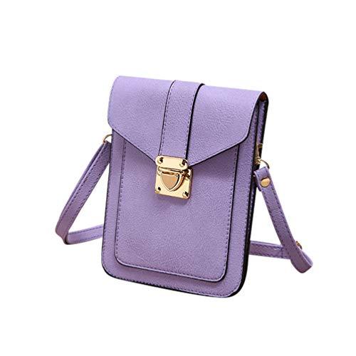 Viaje Mini Celular Púrpura Kairuun Crossbody Hombro de de Mujer Bolso Multifuncional Monedero Artificial Bolsas Cuero de qBwT7f