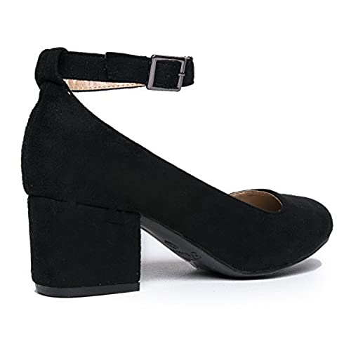 9150fb512a7b Low Round Toe Ankle Strap Heel - Comfortable Chunky Block Heel Sandal -  Millie by J
