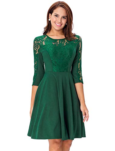 Noctflos Green Vintage Floral Lace Cocktail Evening Wedding Party Dress for Women Junior by Noctflos