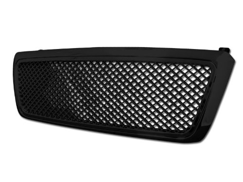 Upper 4 Piece Grille Grill - Velocity Concepts Black Center Mesh Upper Front Hood Bumper Grill Grille Cover Abs 04-08 Ford F150