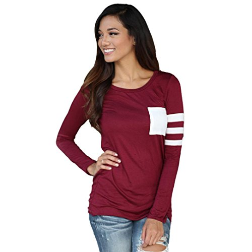 zolimx Blusas de manga larga mujer ronda cuello empalme camisa blusa T Shirt Rojo