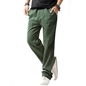 SIR7 Men's Linen Casual Lightweight Drawstrintg Elastic Waist Summer Beach Pants