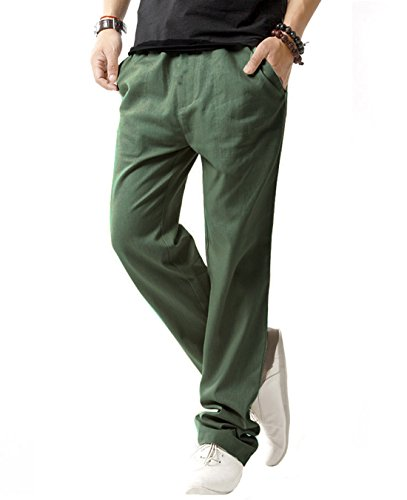 SIR7 Men's Linen Casual Lightweight Drawstrintg Elastic Waist Summer Beach Pants Army Green (Elastic Work Pant)