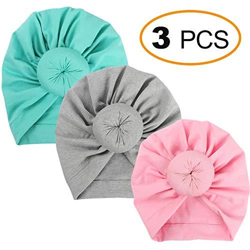 (Fairoyal 3Pcs Baby Infant Headbands Bohemian Head Knot Wrap Hat 0-6M (S6))