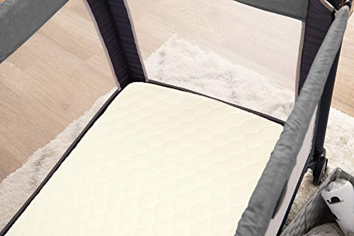 American Baby Company Waterproof Quilted Pack N Play Playard Size Fitted Mattress Cover made with Organic Cotton Natural Color Vinyl Free