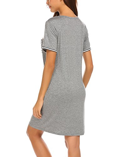 MAXMODA Donna Camicie da Notte Comodo Semplice Pigiami Camici Vestaglia Accappatoi Camicia da Notte Manica Corta Scollo a U S-XXL