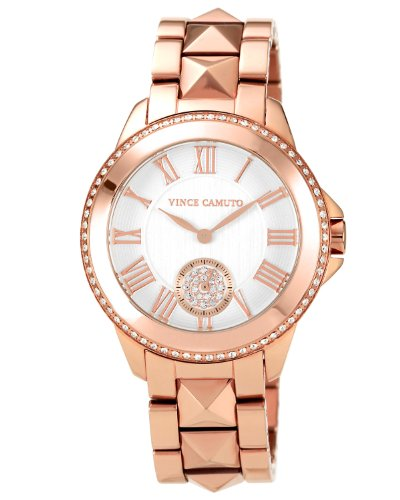 Vince Camuto Women's VC/5048SVRG Round Swarovski Crystal Accented Rosegold-Tone Bracelet Watch