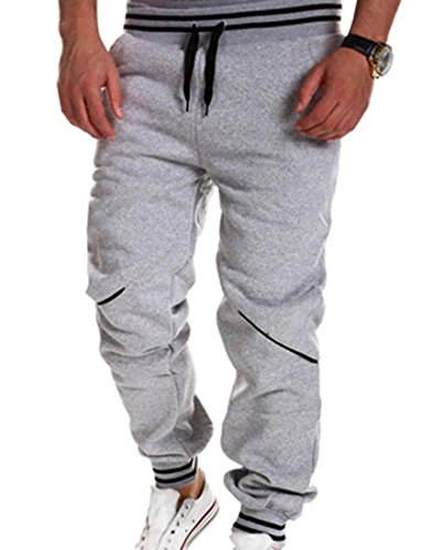 Jeansian Hombres Sport Lazo Casual Sport Jogger Anchos De Printing Largo Pantalones Pantalones Pant Corto S379 Gray