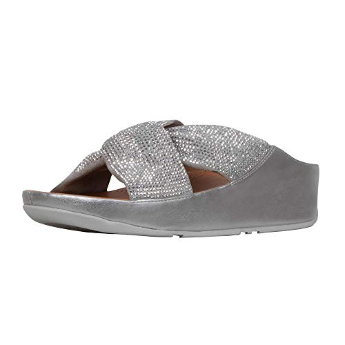 (FitFlop Womens Twiss Crystal Slide Sandals, Silver, 9 )
