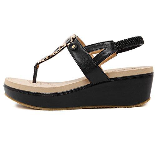 De las mujeres chancletas Zapatos de sandalia De hebilla de metal Rhinestones Corea estilos Negro