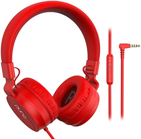 PuroBasic Volume Limiting Wired Headphones for Kids, Boys, Girls 2 Foldable Adjustable Headband, Compatible with iPad, iPhone, Android, PC Mac by Puro Sound Labs, Red
