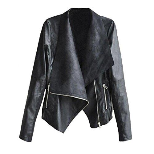 Zipper Jacket,Han Shi Women Fashion Vintage Biker Motorcycle Leather Sexy Coat Lapel Neck (L, Black) (Up Close Vintage Blouse)