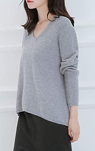 A V Cashmere Scollo Lunghe Grau Maniche Donna Dissa Da Pullover F4906 In qwv8Ef