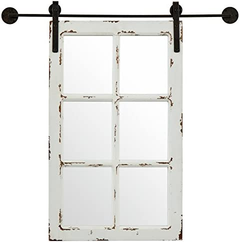 Amazon Brand Stone Beam Vintage-Look Rectangular Barn Farmhouse Frame White Window Wood Mirror