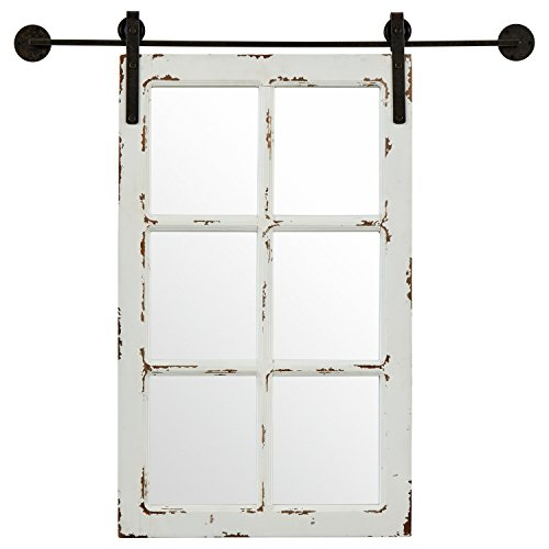 Stone & Beam Vintage-Look Rectangular Frame White Window Wood Mirror, 36.25 Inch Height, Gray -