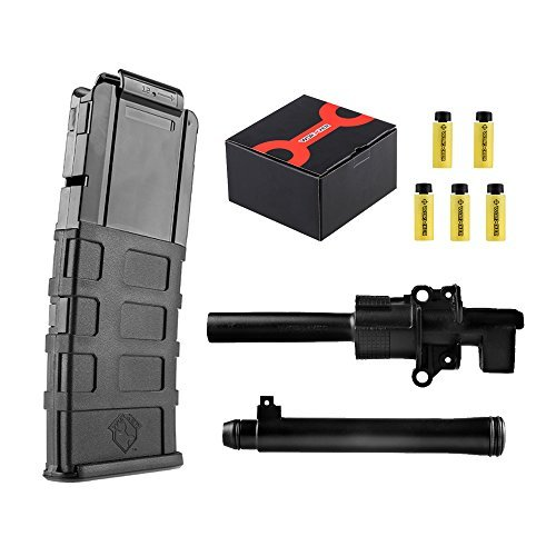 Worker Mod Upgrade Tube Kit with 12 darts Magazines Clip and 50pcs 36mm Darts for Nerf Retaliator Color Black