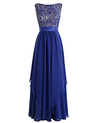Bridesmay Long Chiffon Bridesmaid Dress V-back Evening Gown Prom Party Dress