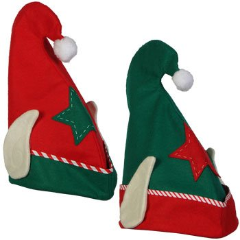 [Elf Hat with Ears Christmas Elf Hat Red or Green] (Elf Hats For Adults)