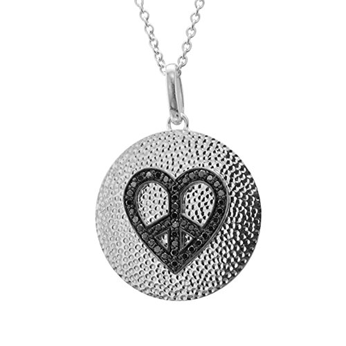 Sterling Silver Heart Peace Sign Diamond Pendant Necklace - 0.25 carat