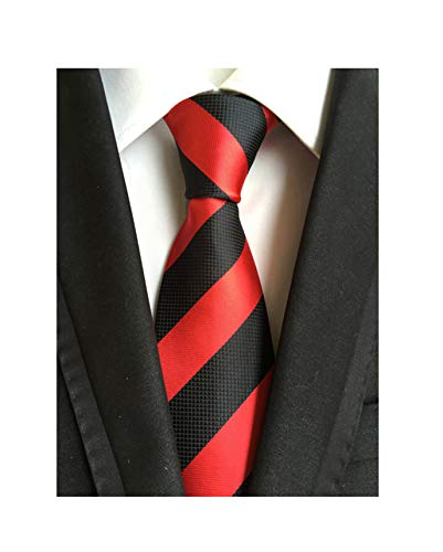 Striped Black and Red Jacquard Woven Gift Ties for Men Formal Graduation Necktie