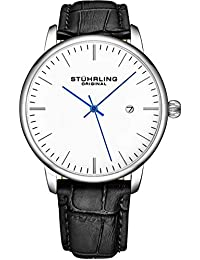 Mens Watch Black Leather Strap - Dress + Casual Design -...
