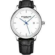 [Sponsored]Stuhrling Original Mens Watch Black Leather Strap - Dress + Casual Design - White...