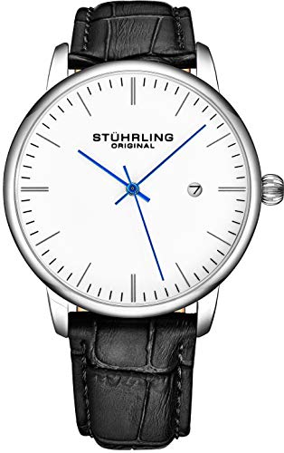 (Stuhrling Original Mens Watch Black Leather Strap - Dress + Casual Design - White Analog Watch Dial with Date, 3997Z Watches for Men Collection)
