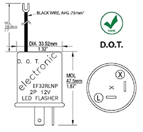 EF32RLNP Electronic LED Compatible Turn Signal Flasher Relay, DOT APPROVED, on