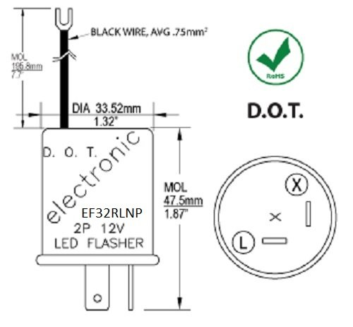 41avLWfHH0L amazon com ef32rlnp electronic led compatible turn signal flasher flasher wiring diagram at crackthecode.co
