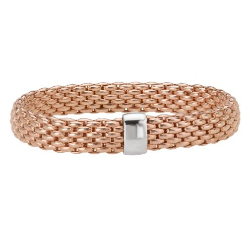 14k Rose Gold over 925 Silver Thick Woven Stretch Bangle Bracelet- 6.25+ IN by Element Jewelry (Image #1)