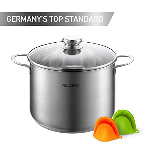 8 Quart Spaghetti Cooker - DELOBOLL 8.5 Quart Tri-Ply Base Covered Stainless Steel Stockpot, GERMAN STANDARD, Multi-clad Base Induction Cookware, Dishwasher Safe Soup Pot with Lid + 2 silicone oven mitts