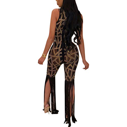121ece3e44c Women s Sexy Sequins Deep V Neck See Through Sheer Mesh Long Sleeve Bodycon  One Piece Jumpsuit