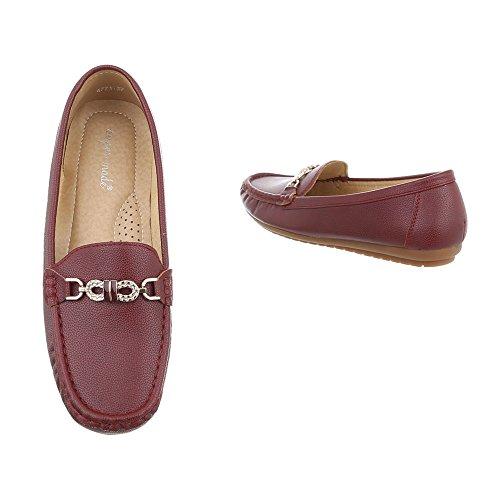 Ital-Design Mokassins Damenschuhe Moderne Halbschuhe Bordeaux 4771