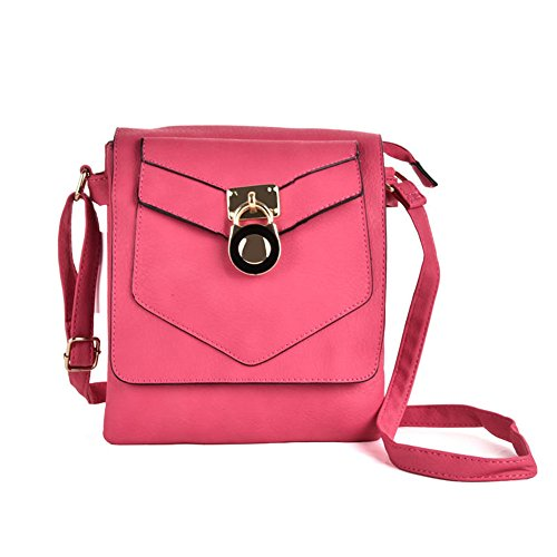 Body PU Detail Cross Lock YOUNG Women SALLY Leather High Quality Bag With Boxy Fashion Strap Fushia R8PRFvX