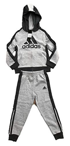 - adidas Boys' Hooded Tricot Jacket and Pant Set (Dark Grey, 5)