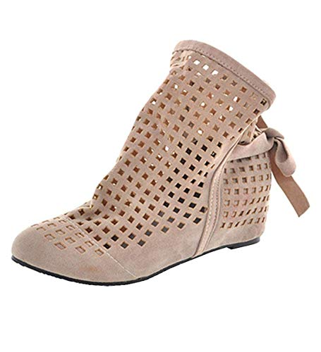 - KIKIVA Women Flat Ankle Boots Hollow Lace Up Summer Closed Toe Dress Booties,8.5 M US,Beige