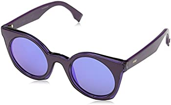 Fendi Blue Mirror Round Unisex Sunglasses