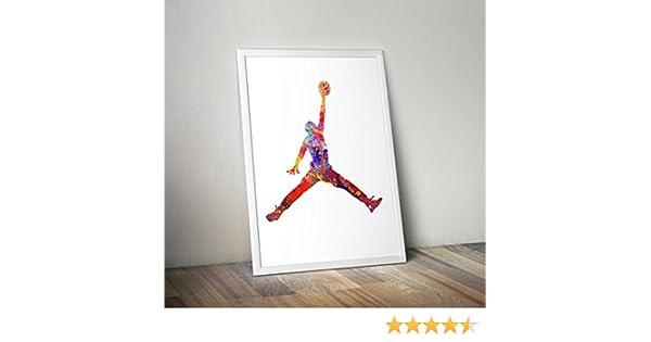 Impresiones alternativas de TV // pel/ículas en varios tama/ños P/óster Hombre chupa Marco no incluido Acuarela inspirada en Michael Jordan